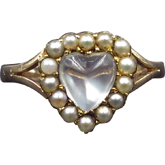 ~Bewitching Heart~ WOWING Victorian Moonstone Heart Pearl Halo Ring 12k Rose Gold C. 1890