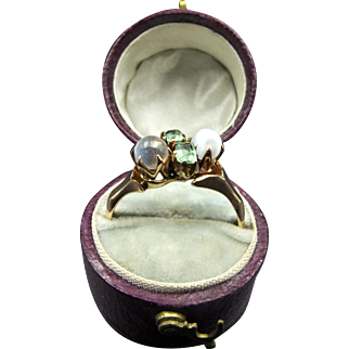 14K Rose Gold Ring with Twin Emeralds and Moonstones