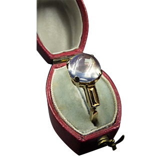 Antique 14K Gold Ring with Central Moonstone in Four-Prong Setting