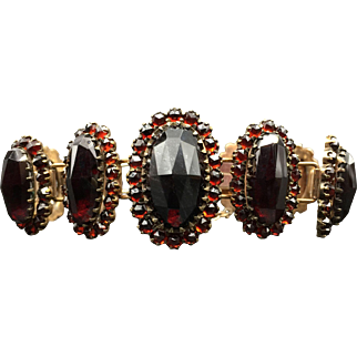 Victorian Solid Bohemian Bracelet with Huge Rose Cut Garnets -- Top-Drawer Quality!