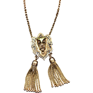 18' Victorian Aesthetic Movement Tassel Necklace in 14k Gold with Taille D'Epargne Enameling