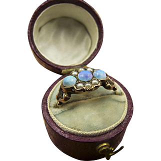 Stunning Three-Opal Ring in Luscious Gold Band Setting with Pearls