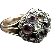 Stunning Antique Georgian Amethyst Paste & Diamond Ring in Silver & Gold c.1770