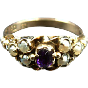 Late Georgian Antique c.1830 Siberian Amethyst & Pearl 9k Gold Ring