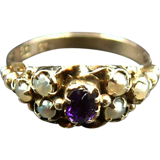 Late Georgian Antique c.1830 Siberian Amethyst & Pearl 9k Gold Ring