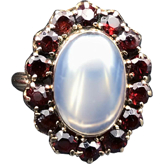 Massive Victorian Moonstone With Garnet Halo 14k Gold Ring Circa 1895