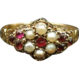 Enchanting Victorian Ruby and Pearl 15kt Gold Flower Setting Ring c.1849 Size 9