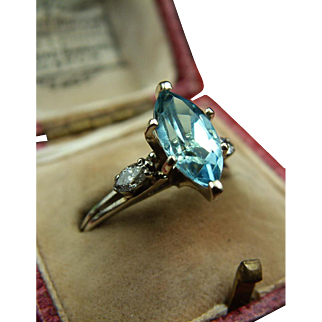 Retro White Gold 14k Ring with Marquise-Cut Aquamarine and Diamonds c.1950