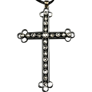 LARGE Georgian Cross Pendant Antique Silver Over Gold with 21 Rose-Cut Diamonds