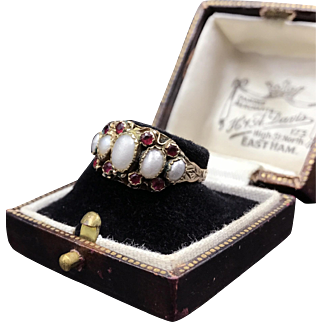 Precious Victorian Pearl and Garnet Ring Fully Hallmarked Birmingham 1856