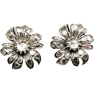 Delightful 18k Georgian Rosecut Diamond Flower Conversion Earrings C. 1790