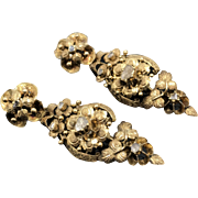 Exceptional 18th Century Georgian Earrings in 18k With Rose Cut Diamonds Circa 1780