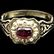 *Regal* Georgian Garnet 18k Gold Ring with Black Enamel Shoulders