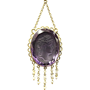 Fine Victorian Necklace in 14K Gold Featuring Faceted & Carved Amethyst Dripping With Pearls!