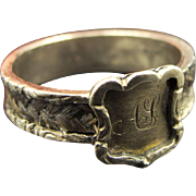 Initialed Antique Georgian Mourning Hair Braid Ring in 12K Gold