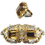 Fantabulous Suite of Precious Jewels in (18K)Gold & Platinum Including Cocktail Ring & Combination Brooch/Dress Clips with 63 Rose Cut Diamonds and 3 Huge (80cts) Emerald Cut Citrines
