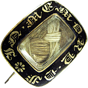 Georgian Antique 12K Gold and Enamel Mourning Brooch with Personalized Inscription