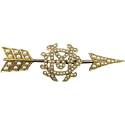 Wonderful Victorian Solid 18K Gold Pearl Encrusted Arrow Brooch Initials M.D.