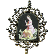 Georgian Cut Steel Brooch with Porcelain Painted Lady c.1790