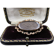 Superb 14K Rose Gold Repoussé Georgian Mourning Brooch Pendant Locket with Private Grieving Window C. 1810