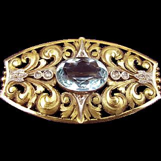 Antique Aquamarine Brooch in 18k Gold with Platinum Accents & Tiny Rose-Cut Diamonds