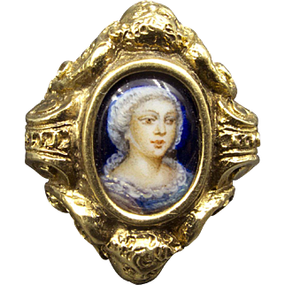 Outstanding 20k Enamel Ring Rococo Revival Circa 1880 Signed 855