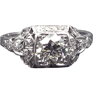 ~The Bombshell~ Outstanding .90cttw Art Deco Platinum Engagement Ring Platinum Fairytale Setting .75ct Central Stone- Video!