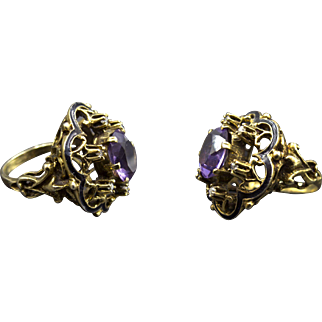 Outrageous Victorian Amethyst and Diamond Ring With Enamel Work~Figural Shoulders~Perfect Condition!