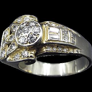 Wonderful Diamond & 14K Gold Ring Art Deco Egyptian Revival Lotus Motif Ring
