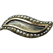 "Georgian Antique Mourning Lover's Eye ""Shuttle Shape""Mourning Hair Brooch c.1815 Pearl Stud Border 9K Gold"
