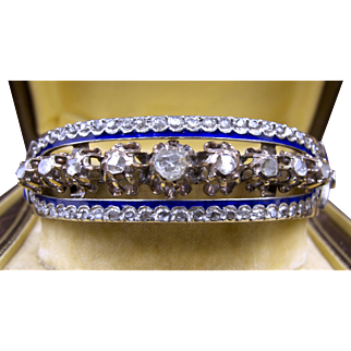 Stunning Victorian Bracelet with 66 Rose Cut Diamonds set 9k Rose Gold & Royal Blue Enamel circa 1865