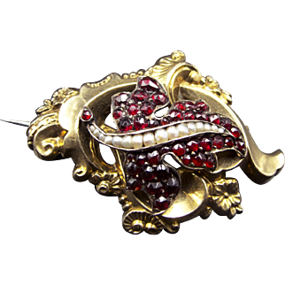 Delicious Garnet, Seed Pearl and Solid 14k Gold and Silver Figural Brooch~Victorian Aesthetic Movement Circa 1870