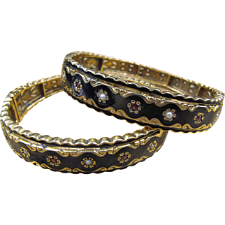Magnificent Pair of Victorian Gold Bangle Bracelets with Black Enamel, Pearls & Garnets
