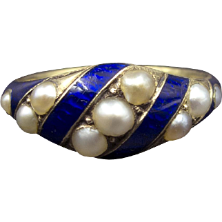 Stunning Early Victorian/Late Georgian English Gold, Navy Enamel And Pearl Ring In Superb Condition