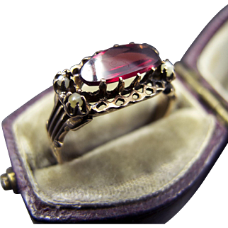 14K Gold Ring with Flat Cut Oval Garnet and Pearls in Openwork Setting Size 6.25