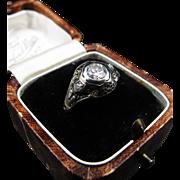 *The Royal Guard* Late Art Deco Diamond Ring in 18K Filigree White Gold