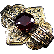 *Juicy & Stunning* Victorian c.1860 Garnet Brooch in Taille d'epargné Fashion