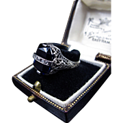 *Skeletal Sapphire* Art Deco 18K White Gold Ring with Deep Blue Paste Sapphire & Diamonds