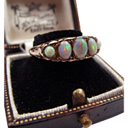 *Family of Mystics* Five Opal 9K Gold Ring with Detailed Gallery