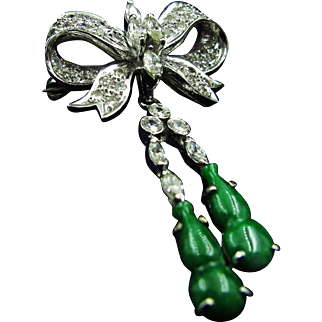 Outstanding 14K White Gold Diamond Bow Brooch with Jade Dangling Gourds