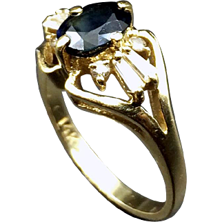 Enchanting Midnight Sapphire & Diamond Estate Ring