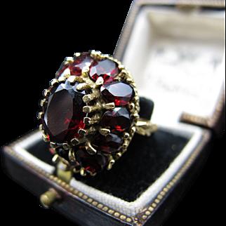 *Stunning* HUGE Victorian Luscious Garnet Ring in 14K Gold