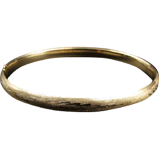Timeless Whimsy - Gorgeous Engraved Gold Bangle