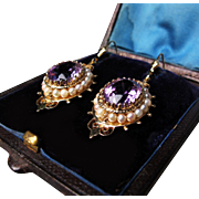*Rose De France* Amethyst c.1875-80 Etruscan Revival Earrings w/ Pearls & Granulation in 18K Gold