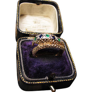*Royal Serpent* Retro c.1960 Snake Ring with Emeralds & Sapphires in 9K Gold