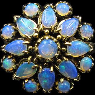 Starburst Blue Opal Cluster Estate Ring in 14K Gold Size 6.25--Just Delightful!