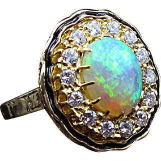 Victorian circa 1880 Opal & Diamond 18K Gold Ring (size 6.25) with Enamel Accent--Simply Luxurious!