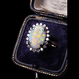 *Mystic Princess* Vintage Retro c.1950 White Opal Diamond Ring in 14K Gold