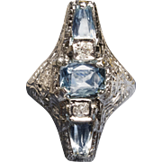 *Clear Skies* Art Deco. c.1925 Aquamarine White Gold Ring with Diamonds