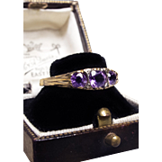 *Amethyst Trinity* Antique Victorian Amethyst Trilogy Engagement 14K Gold Ring